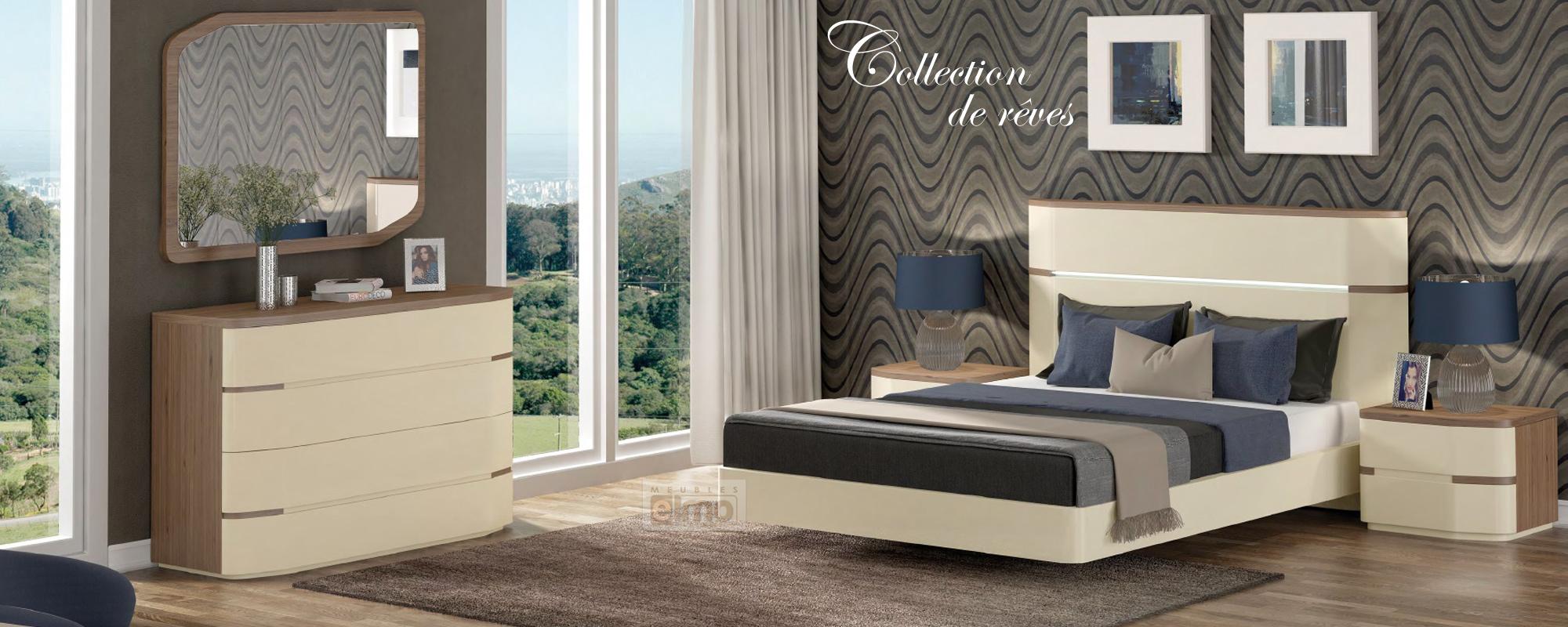 Meubles Portugais chambre contemporaine complète : lit, commode, chevets, armoire